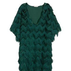 H&M Teal Green Shag Fringe Fluffy Cocktail Dress